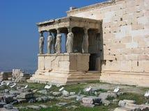 Caryatides古老门廊在上城 库存照片