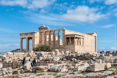 Caryatides, Acropole de temple d'Erechtheion, Athènes, Grèce image libre de droits