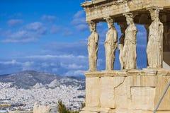 Caryatides, Erechtheion świątynny akropol w Ateny, Grecja obrazy royalty free