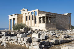 Caryatides and erechtheum. In acropolis Royalty Free Stock Images