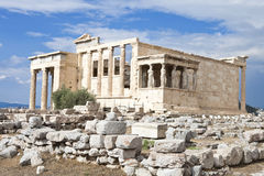 Caryatides Statues. At Erectheum temple at Acropolis Athens Stock Photography