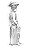Caryatidessqulpture Pantheonkolom, Athene, Griekenland royalty-vrije illustratie