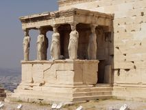 The  Caryatids. Caryatids At The Erechteion in Athens, Greece Royalty Free Stock Photo