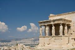 Caryatids. The Caryatids of Acropolis in Athens, Greece royalty free stock image