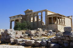 Caryatids on Acropolis Royalty Free Stock Images