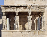Caryatids ancient statues, erechteion temple, Greece Royalty Free Stock Photography