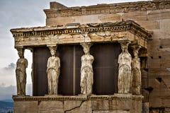 Caryatids. Antique statues caryatids on acrolpole royalty free stock photos