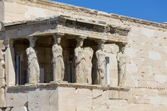 Caryatids. From Aphrodite temple on Pantheon, Athens Greece stock images