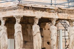Caryatids in the Erechtheion temple on Parthenon, Athens Greece Royalty Free Stock Images