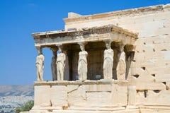 Caryatids at Athens. Caryatids - female statue columns at the Erechtheion, Acropolis, Athens royalty free stock photography
