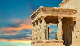 Caryatids in Athens Greece sky clouds Royalty Free Stock Images