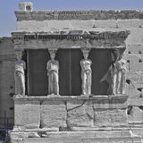 Caryatids in b/w and blue, erechtheion temple Acropolis Stock Image