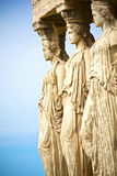 Caryatids. Close up view of the Caryatids on the Acropolis of Athens, Greece royalty free stock image