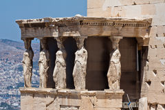 Caryatids Erechteion Acropolis Athens Greece. The Caryatids female statues with veils in the Erechteion temple ruins, Acropolis, Athens, Greece Stock Photo