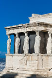Caryatids Erechteion Acropolis Athens Greece. The Caryatids female statues with veils in the Erechteion temple ruins, Acropolis, Athens, Greece Royalty Free Stock Photography