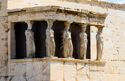 The caryatids. In the Erechteion temple ruins, Acropolis, Athens, Greece royalty free stock photography