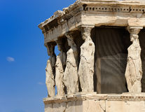 The caryatids. In the Erechteion temple ruins, Acropolis, Athens, Greece Royalty Free Stock Photos