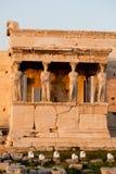 Caryatids, erechtheion temple Acropolis, Athens Greece. Caryatids in the front, erechtheion temple Acropolis, Athens Greece Royalty Free Stock Images