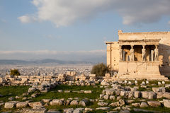 Caryatids in Erechtheum from Athenian Acropolis,Greece  Stock Photography