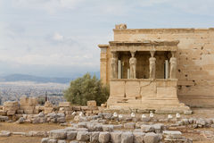 Caryatids on the Erechtheum temple, Acropolis of Athens, Greece. Caryatids on the Erechtheum temple on the Acropolis of Athens, Greece Stock Photo