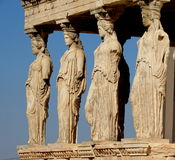 The Caryatids, Greece. Famous Porch of the Caryatids. The Caryatids is a sculpted female figure serving as an architectural support taking the place of a column stock photography