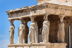 Caryatids at Porch of the Erechtheion, Acropolis. Six Caryatids or karyatides at Porch of the Erechtheion in Acropolis at Athens royalty free stock images
