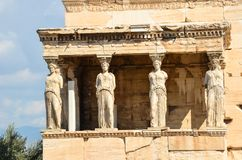 Caryatids portico on Acropolis. Royalty Free Stock Images