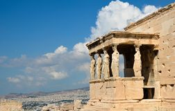Caryatids portico on Acropolis and Athens view. Stock Image