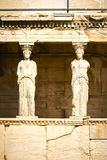 Caryatids. View of the Caryatids on the Acropolis of Athens, Greece stock photo