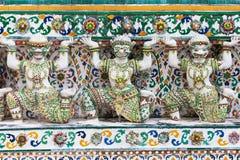 Caryatids of the Wat Arun. Bangkok, Thailand stock photos