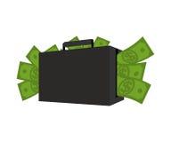 Cas avec de l'argent Valise complètement de dollars Encaissez dedans son sac weal Photographie stock