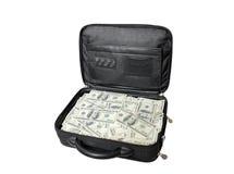 Cas avec l'argent comptant Photo stock