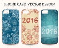 Cas de téléphone de Noël Fond abstrait d'an neuf heureux Inscription tirée par la main Illustration de vecteur illustration stock