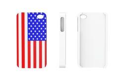 Cas de téléphone portable avec le drapeau des Etats-Unis Photographie stock libre de droits