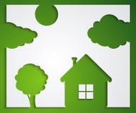 Casa, árbol, etiquetas engomadas de la nube Fotos de archivo
