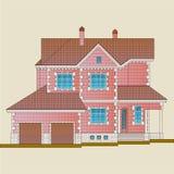 A casa é construída de detalhes do tijolo vermelho e da decoração com pedra branca ilustração royalty free