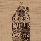 A casa é a melhor mão-rotulação Casa-dada forma Fotografia de Stock