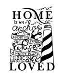 A casa é o lugar aonde a âncora deixa cair o cartão Ilustração da tinta Caligrafia moderna da escova Isolado no fundo branco Fotos de Stock Royalty Free