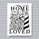 A casa é o lugar aonde a âncora deixa cair o cartão Ilustração da tinta Caligrafia moderna da escova No fundo branco Foto de Stock Royalty Free