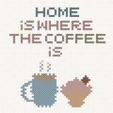 A casa é o lugar onde o café está rotulando Fotografia de Stock