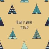 A casa é o lugar onde você está Ilustração da barraca da tenda Imagens de Stock