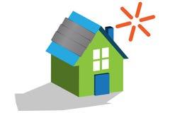 casa 3D con los paneles solares Imagen de archivo libre de regalías