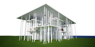 casa 3d conceptual, no fundo branco Ilustração Royalty Free