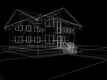 casa 3d en fondo negro