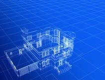 casa 3d no fundo azul ilustração do vetor
