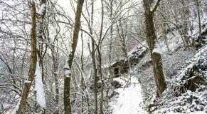 Casa abandonada coberta na neve Foto de Stock