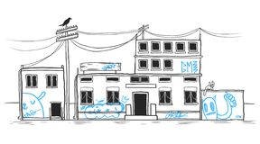Casa abandonada desenhada mão Imagem de Stock