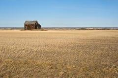 Casa abandonada en fieldfall cosechado del trigo Fotografía de archivo libre de regalías