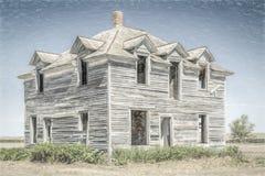 Casa abandonada en Nebraska rural Imagen de archivo libre de regalías