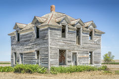 Casa abandonada en Nebraska rural Foto de archivo libre de regalías
